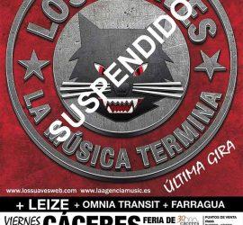 Cartel Los Suaves en Feria Cáceres 2016 suspendido